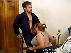 Classic porn with chesty BBW mature cougar blowing and riding cock