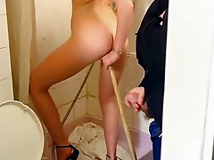 Retro Blonde With a Broom Handle in Her Pussy and Cum on Her Bush