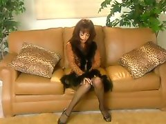 Hot brunette beauty Mason Marconi shows of her sex MILF body in thigh high stockings