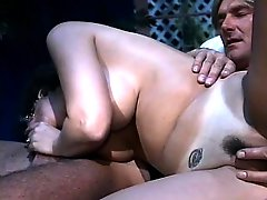 Luscious milf with big boobs takes a hard prick in her hairy snatch