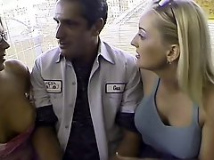 Horny mechanic gets to fuck two girls in exchange for his services