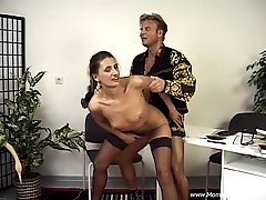 Sweet Brunette Goes Hardcore Doggystyle In A Retro Video