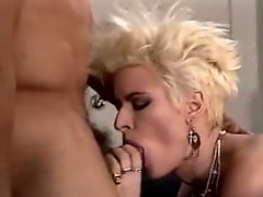Sexy 80s porn doll enjoys a Three Some