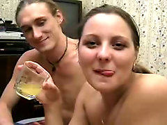 Drunken babe sucks cock and fucks
