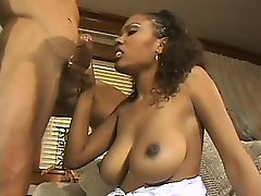 Vintage tape of an interracial threesome with two fine bitches