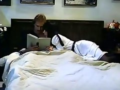 Playful couple of brunette chicks share one dick sucking it in hotel