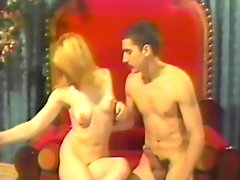 Cute blonde sucks and rides her mans dick in vintage sex video