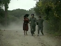 Cute officer fucks slim dark haired bitch in woods tough