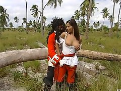 Brunette chick in a vintage dress gets fucked outdoors