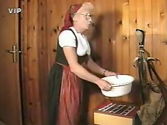 Short haired German village slut rides fat dick right in the shed