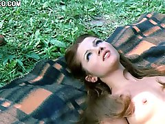 Beautiful Redhead Retro Babe Agostina Belli Sunbathing Totally Naked