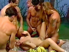 Muscular dudes are fucking this slender blonde in anal