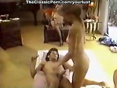 Kinky slim and titless vintage brunette suck two dicks and enjoys DP