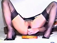 Vintage dildo sex scene with curly hair milf