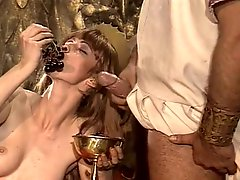 Roman orgy party with handcuffed brunette riding strong fat cock