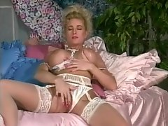 Fake tits girl masturbates pussy in vintage porn