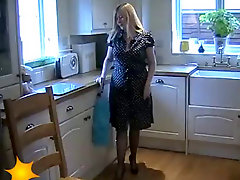 Amateur British MILF Housewife In Retro Lingerie And Blue Silk Stockings131