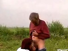 Hot girl sucks homeless old dude Dick