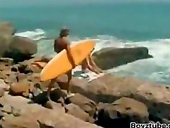 Vintage 70s Surf Boys having a threesome