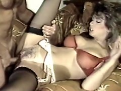 Vintage scene with a spicy curly-haired wife