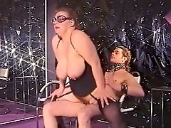 BBW mistress makes young dude on a leash suck her nipples and