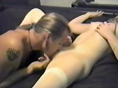 Blonde chick in white stockings gets fucked in retro video