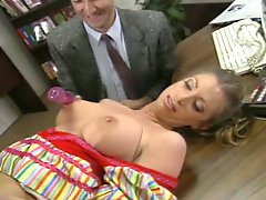 A couple of freaky studs teased busty long haired slut with fake plastic cock