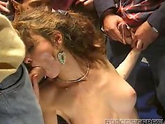 Two slutty babes suck big dicks and get fucked cowgirl