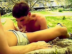 Pleasant dark-haired guy has fantastic outdoor sex with sensitive macho