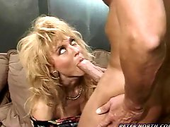 Nina Hartley sucks Peter Norths cock before and after riding it