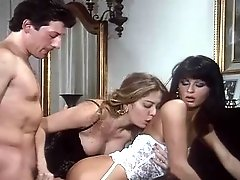 Brunette and blonde having wild FFM threesome sex