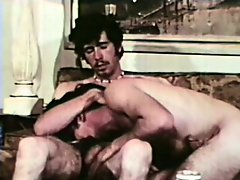 Vintage male lovers savour their intense orgasms after anal sex
