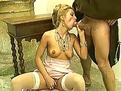Hardcore sex in classic porn movie with stockings