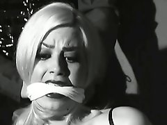 Hot lesbian bondage fun, in black and white, with sexy Ava Lalonde