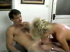 Perverted blondie in orange stuff lures dude to give him BJ in the office