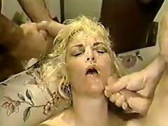 Dirty white whore swallows big black cock and gets DPed