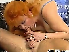 Red Haired Granny Sucking And Riding Dick