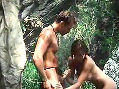Erotic sex in the woods in a retro movie