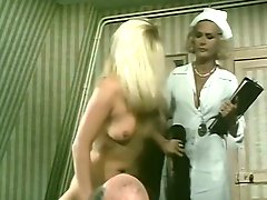 Lusty blond haired nurse sucks big penis of fat sick dude