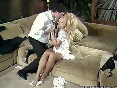 Salacious blonde milf Nina Hartley makes a guy sweat