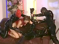 Double penetration in latex!