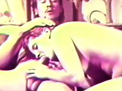 Retro babe blows before fucking