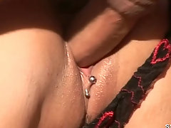 Blonde with big boobs fucking outdoors