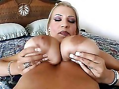 Busty Blonde Poses, Sucks, And Fucks