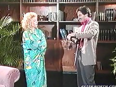 Nina Hartley fucks some dude and gets cum on her loin